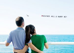 Personal sky Typing and tow banners-will you marry me banners?